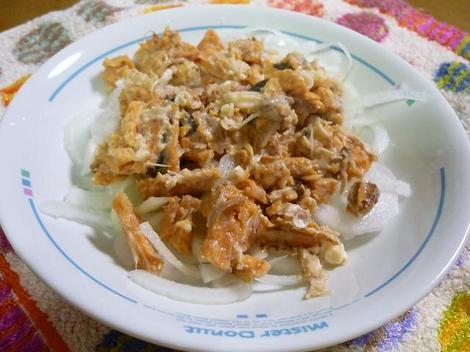 新タマネギた鮭の中骨サラダ